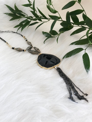 Handmade Plated Stone Necklace