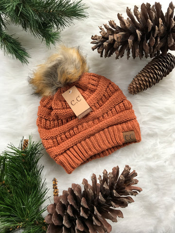 Pom Perfect CC Beanie-Rust