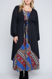 Tie Waist Maxi Cardigan-Extended Sizes