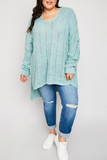 Distressed Sea Foam Sweater-Extended Sizes