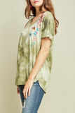 Tie Dye Embroidered Tee