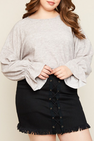 Bell Sleeve Sweater Top-Extended Sizes