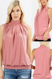 Pleated High Neck Tank-More Colors Available