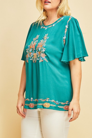 Embroidered Everyday Top-Extended Sizes