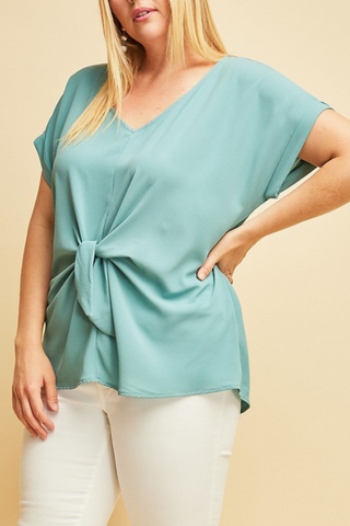 V-Neck Tie Top- Extended Sizes