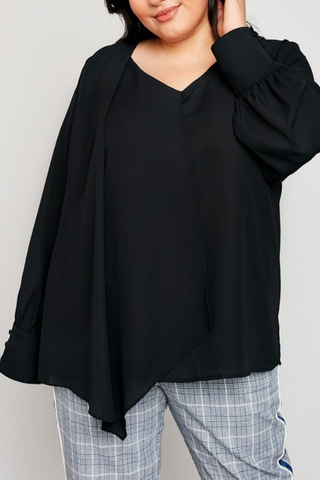Asymmetrical Layered Blouse-Extended Sizes