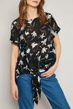 Printed Tie Front Top