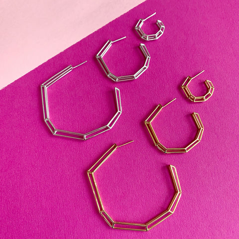 "18K Gold Plated Brass ""Strength Hoops"" - Mini"