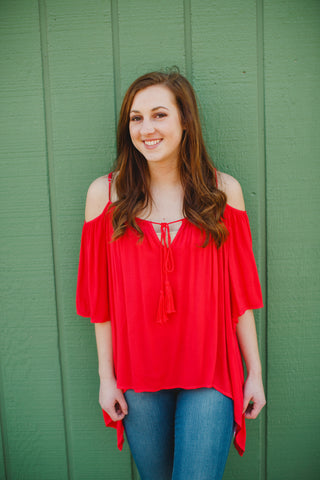 Cherry Cold Shoulder Top