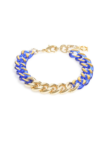 Color & Chain Bracelet-Gold/Cobalt