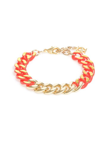 Color & Chain Bracelet-Gold/Red