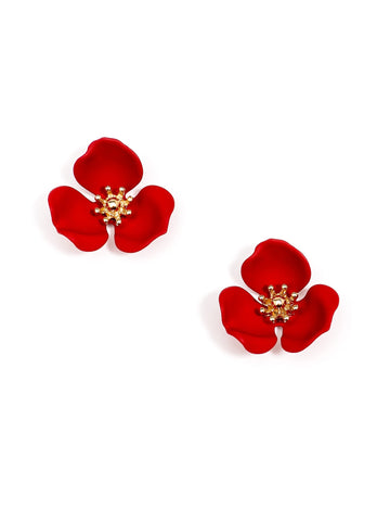 Pretty Petal Earrings- Red