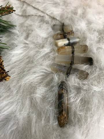 Handmade Wrapped Stone Necklace-LGRH