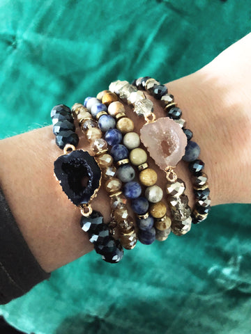 Glam Glass & Stone Bracelet