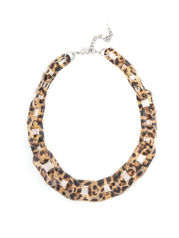Resin Link Necklace - Leopard Brown