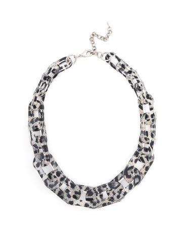 Resin Link Necklace - Leopard Grey