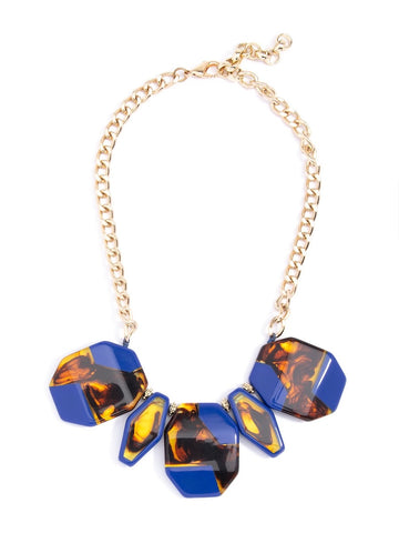 Tortoiseshell Resin Necklace- Cobalt