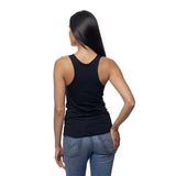 Black Cykochik Vegan V Heart embroidered Organic Bamboo and Organic cotton tank top - Back