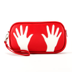 Front red and cream Cykochik custom hand print applique eco-friendly vegan clutch wristlet by Dallas artist Kevin Obregon