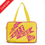 "Front yellow and hot pink Cykochik custom ""Stop Hate Make Love"" vegan laptop travel tote bag by Loyal KNG"