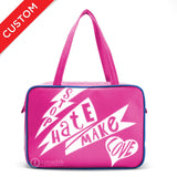 "Front hot pink and white Cykochik custom ""Stop Hate Make Love"" vegan laptop travel tote bag by Loyal KNG"