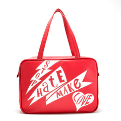 "Front red Cykochik custom ""Stop Hate Make Love"" applique vegan laptop travel tote bag by Loyal KNG"