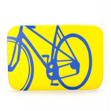 "Front yellow and blue Cykochik custom ""10-Speed"" bicycle applique  15"" vegan laptop sleeve by artist Michelle White"
