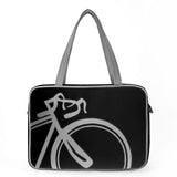 "Front black and gray Cykochik custom ""10-Speed"" bicycle applique vegan laptop/travel/diaper tote bag by Berkeley artist Michelle White"