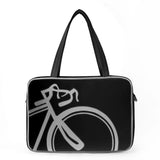 "Front gray and black Cykochik custom ""10-Speed"" bicycle applique vegan laptop/travel/diaper tote bag by Berkeley artist Michelle White"