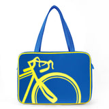 "Front blue and yellow Cykochik custom ""10-Speed"" bicycle applique vegan laptop/travel/diaper tote bag by Berkeley artist Michelle White"