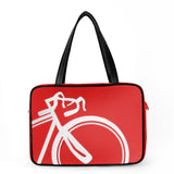 "Front red and white Cykochik custom ""10-Speed"" bicycle applique vegan laptop/travel/diaper tote bag by Berkeley artist Michelle White"