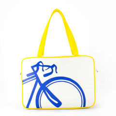 "Front yellow and blue Cykochik custom ""10-Speed"" bicycle applique vegan laptop/travel/diaper tote bag by Berkeley artist Michelle White"