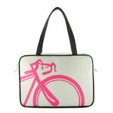 "Front gray and hot pink Cykochik custom ""10-Speed"" bicycle applique vegan laptop/travel/diaper tote bag by Berkeley artist Michelle White"
