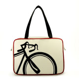 "Front cream and black Cykochik custom ""10-Speed"" bicycle applique vegan laptop/travel/diaper tote bag by Berkeley artist Michelle White"
