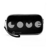"Front black and gray Cykochik custom ""Love"" applique vegan case clutch wristlet bag by artist Willie Baronet"