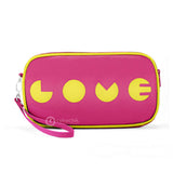 "Front hot pink and chartreuse Cykochik custom ""Love"" applique vegan case clutch wristlet bag by artist Willie Baronet"