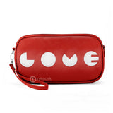 "Front red and white Cykochik custom ""Love"" applique vegan case clutch wristlet bag by artist Willie Baronet"