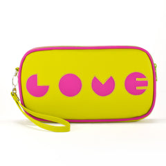 "Front chartreuse Cykochik custom ""Love"" applique vegan case clutch wristlet bag by artist Willie Baronet"