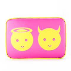 "Front hot pink Cykochik custom ""Angel and Devil"" applique 15"" vegan laptop sleeve by artist Willie Baronet"