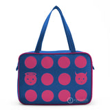 "Front blue and hot pink Cykochik custom ""Angel and Devil Circles"" applique laptop travel vegan tote bag by artist Willie Baronet"