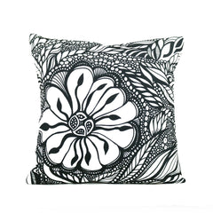 "Cykochik ""Botanica"" eco-friendly vegan throw pillow by Jody Pham - Front"