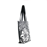 Side Black and white Cykochik custom Botanica floral eco-canvas vegan tote bag by artist Jody Pham