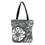 Front Black and white Cykochik custom Botanica floral eco-canvas vegan tote bag by artist Jody Pham