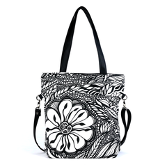 Front Black and white Cykochik custom Botanica floral eco-canvas vegan crossbody/tote bag by artist Jody Pham