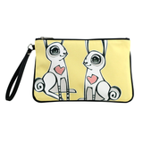 "Front black Cykochik custom ""Love Bunnies"" rabbit eco-canvas vegan clutch wristlet bag by Berkeley artist Michelle White"