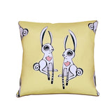 """Love Bunnies"" Vegan Throw Pillow design by Berkeley artist Michelle White (Multicolored )"