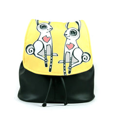 """Love Bunnies"" Vegan Drawstring Backpack Purse - Design by Berkeley artist Michelle White (Multicolored )"