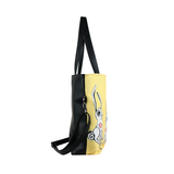 "Side black Cykochik custom ""Love Bunnies"" rabbit eco-canvas vegan crossbody tote bag by Berkeley artist Michelle White"