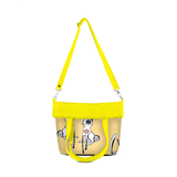 "Front folded yellow Cykochik custom ""Love Bunnies"" rabbit eco-canvas vegan crossbody tote bag by Berkeley artist Michelle White"