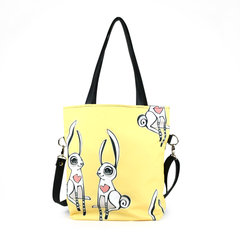 "Front black Cykochik custom ""Love Bunnies"" rabbit eco-canvas vegan crossbody tote bag by Berkeley artist Michelle White"